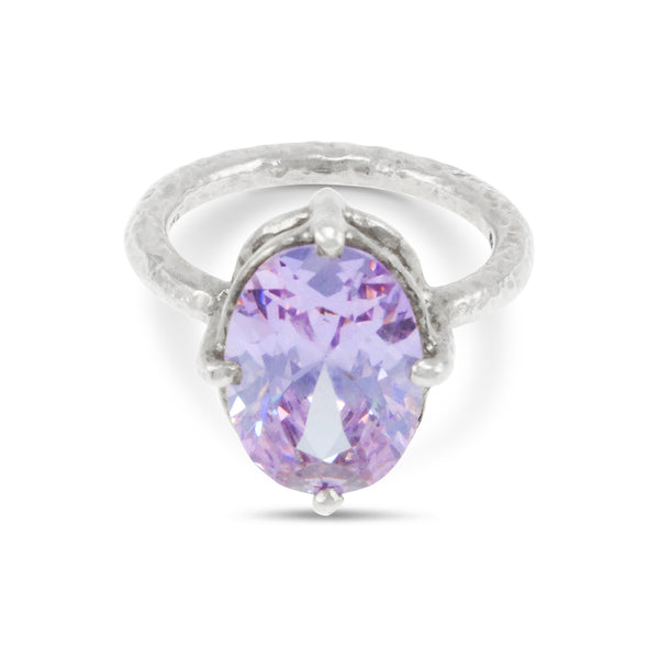 Ring handmade in silver set with lilac cubic zirconia. - Paul Magen