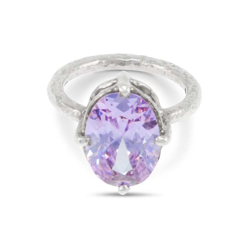 Ring handmade in sterling silver set with lilac coloured cubic zirconia.