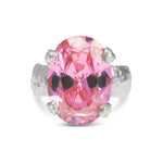 Silver statement ring set with pink coloured cubic zirconia. - Paul Magen