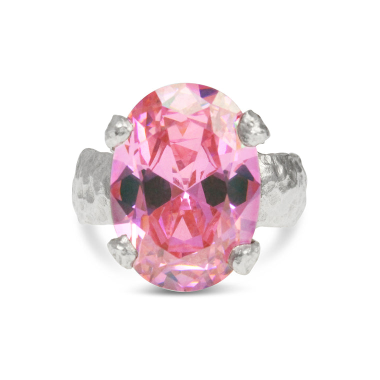 Sterling silver statement ring set with pink coloured cubic zirconia.