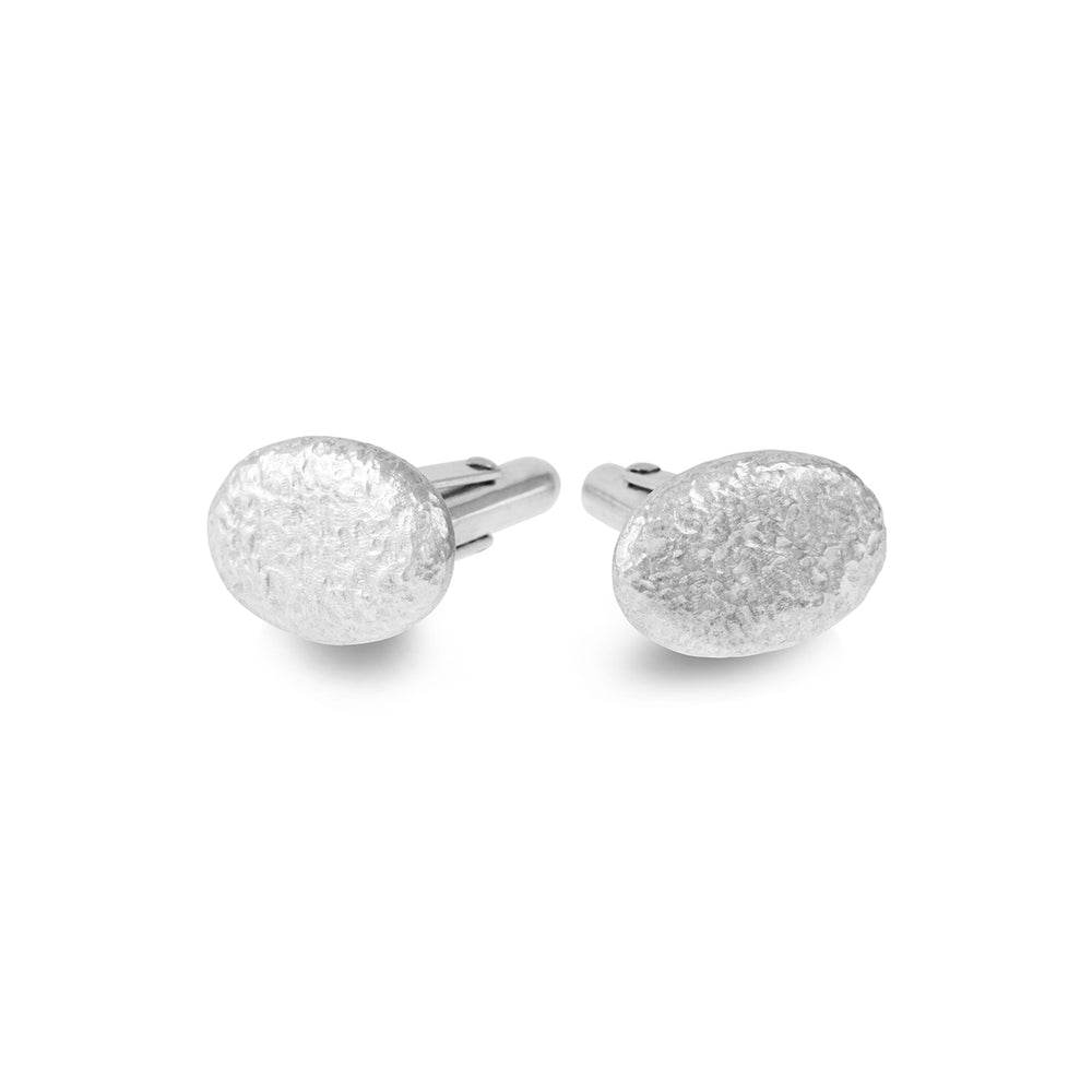 Unique cufflinks with a textural design in silver.