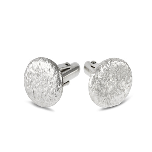 Cufflinks handmade in silver with textured finish. - Paul Magen