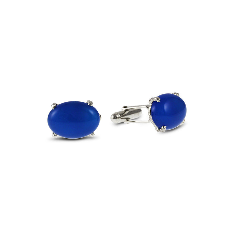 Sterling silver cufflinks claw set with cabochon blue agate gemstones.