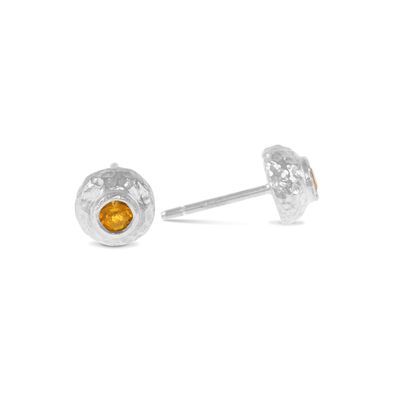 Stud earrings handcrafted in silver with a citrine gemstone. - Paul Magen