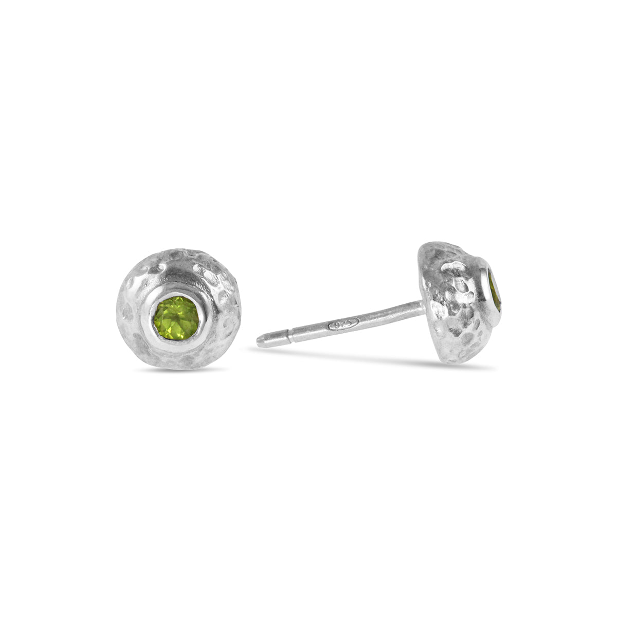 Sterling silver rustic style stud earring set with a peridot. - Paul Magen