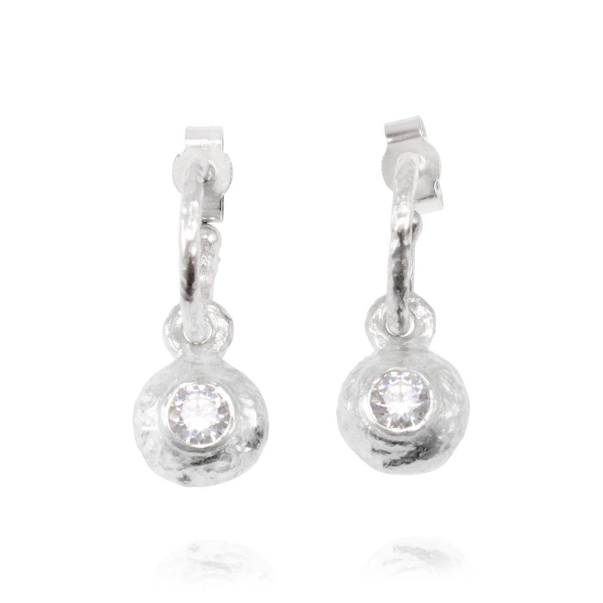 Duco earring in sterling on hoops silver set with 4mm cubic zirconia