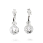 Earrings in silver set with white cubic zirconia. - Paul Magen