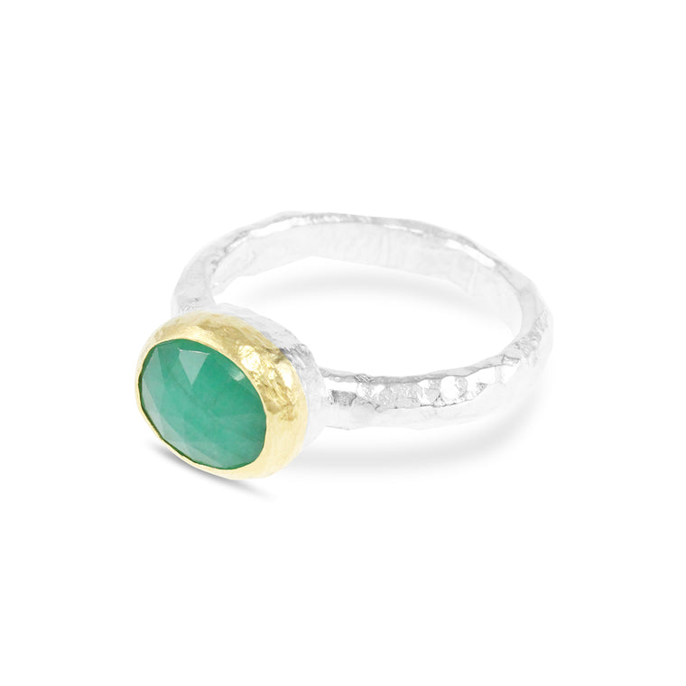 Handmade ring in sterling silver with 18ct yellow gold setting with an emerald gemstone.