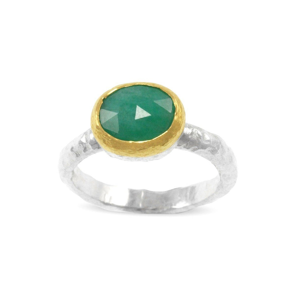 Handmade ring in silver and 18ct gold with emerald gemstone. - Paul Magen