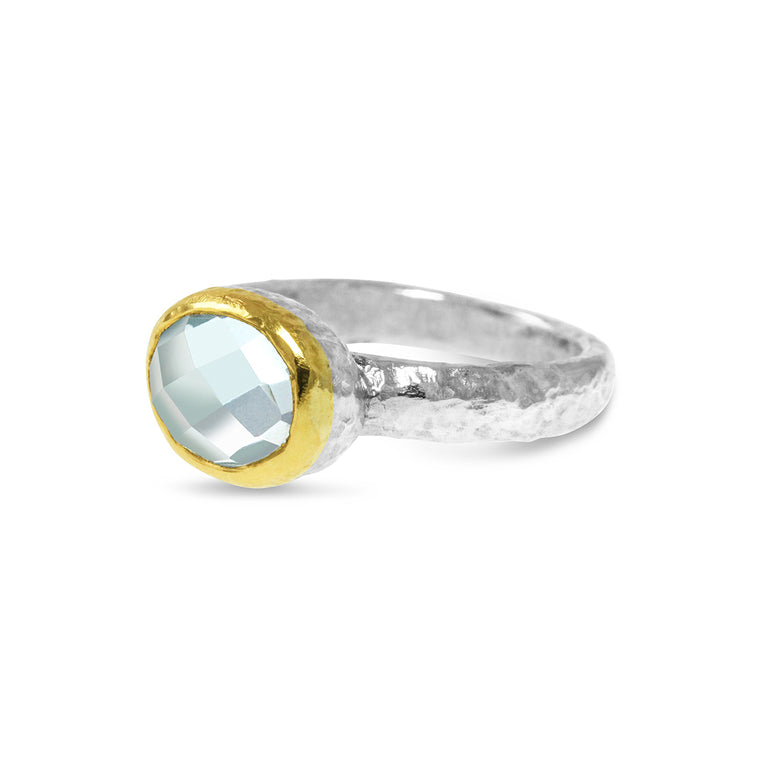 Ring sterling silver gold setting with set with blue topaz gemstone.