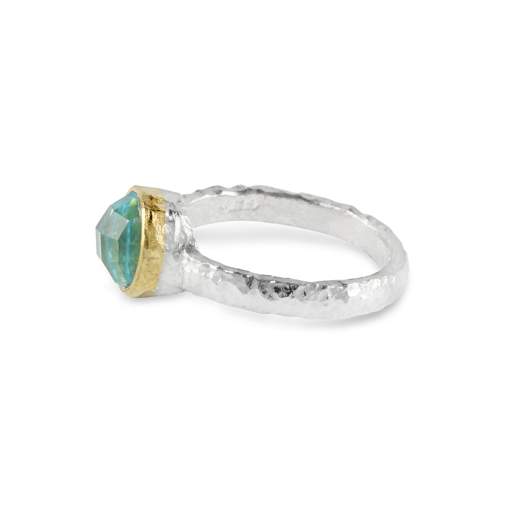 Blue topaz ring handmade in silver with 18ct yellow gold setting. - Paul Magen