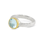 Blue topaz ring handmade in silver with 18ct gold setting - paul magen