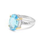 Ring handcrafted in sterling silver with 18ct yellow gold claws set with blue topaz.