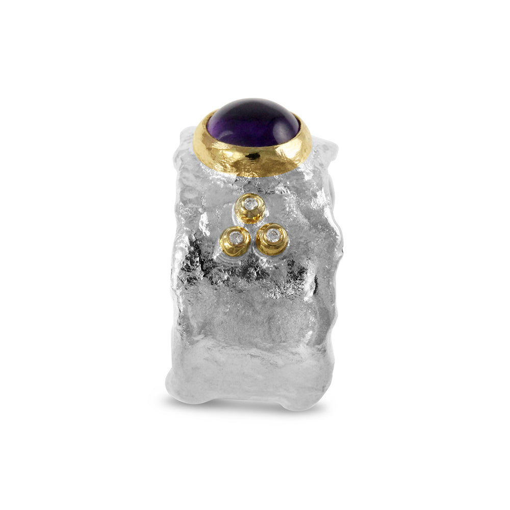 Silver rustic style ring set with amethyst and diamond. - Paul Magen