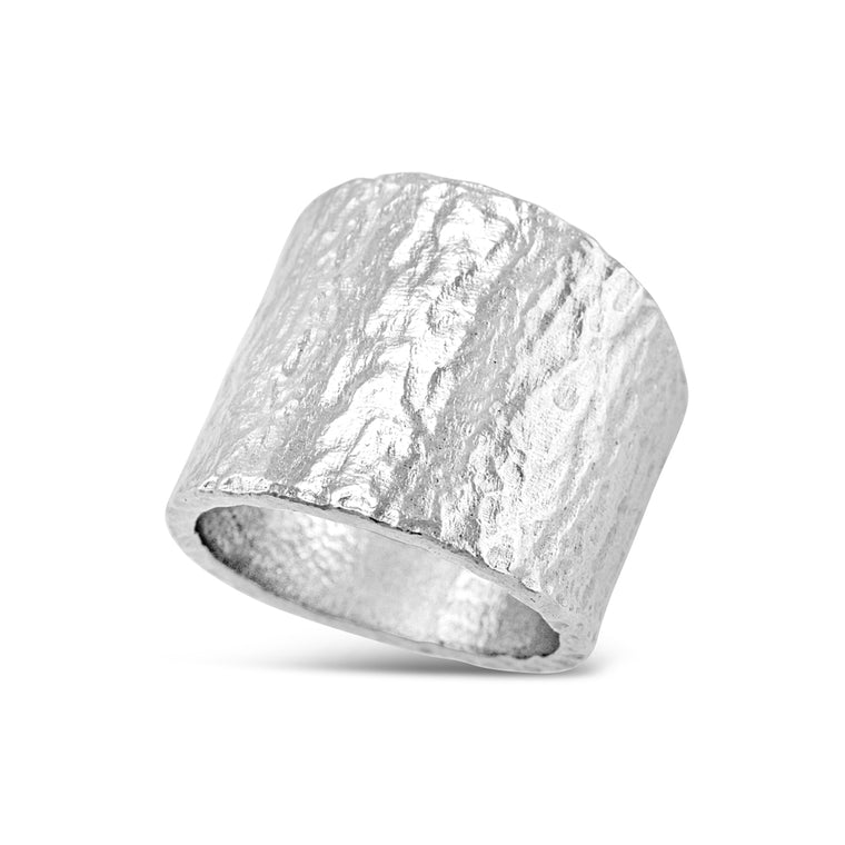 Handcrafted sterling silver ring wide tapered.
