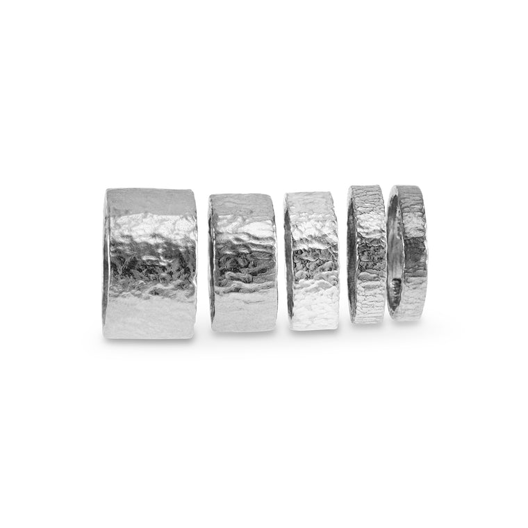 Rings handmade in sterling silver with finished with a rustic texture.