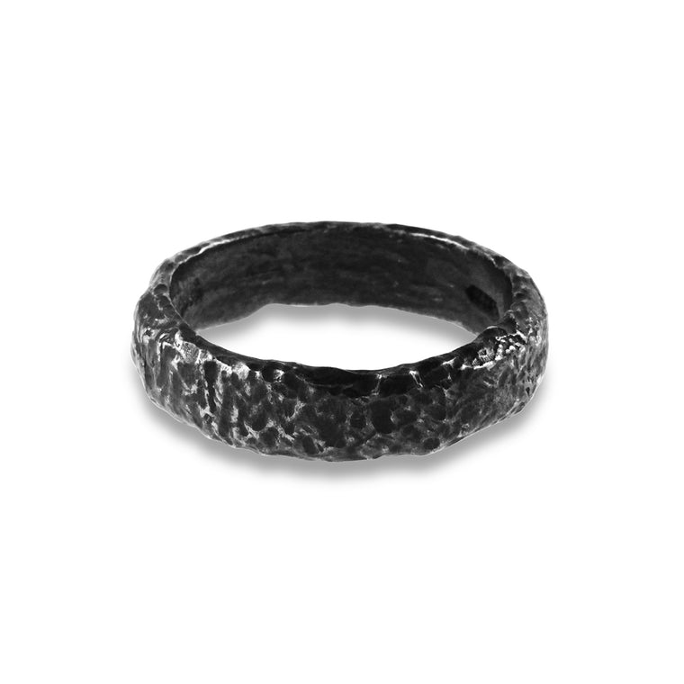 Silver ring rustic style with an oxidised finish.