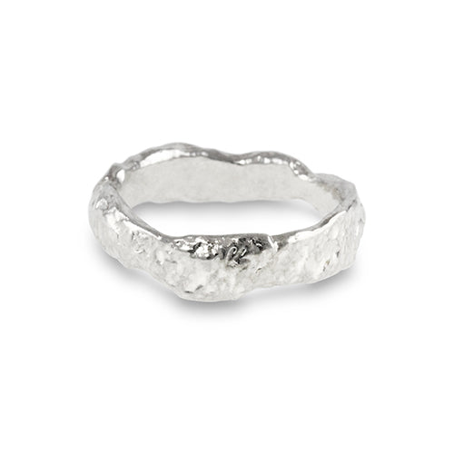 Ring in sterling silver with a unique heavily melted organic texture.