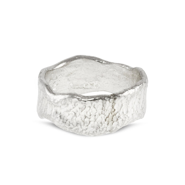 Contemporary ring handmade in silver with a melted edge. - Paul Magen