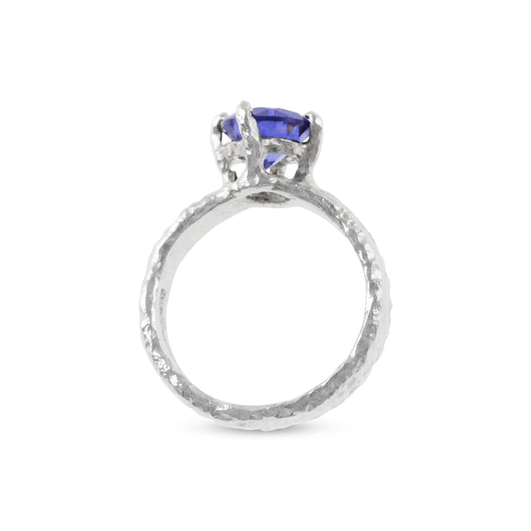 Contemporary ring in silver with blue cubic zirconia stone - Paul Magen