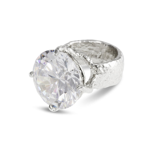 Designer ring in sterling silver set with white cubic zirconia. - paul magen