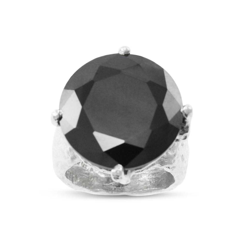 Statement ring handmade in sterling silver set with black cubic zirconia.