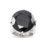 Statement ring made in silver set with black cubic zirconia.