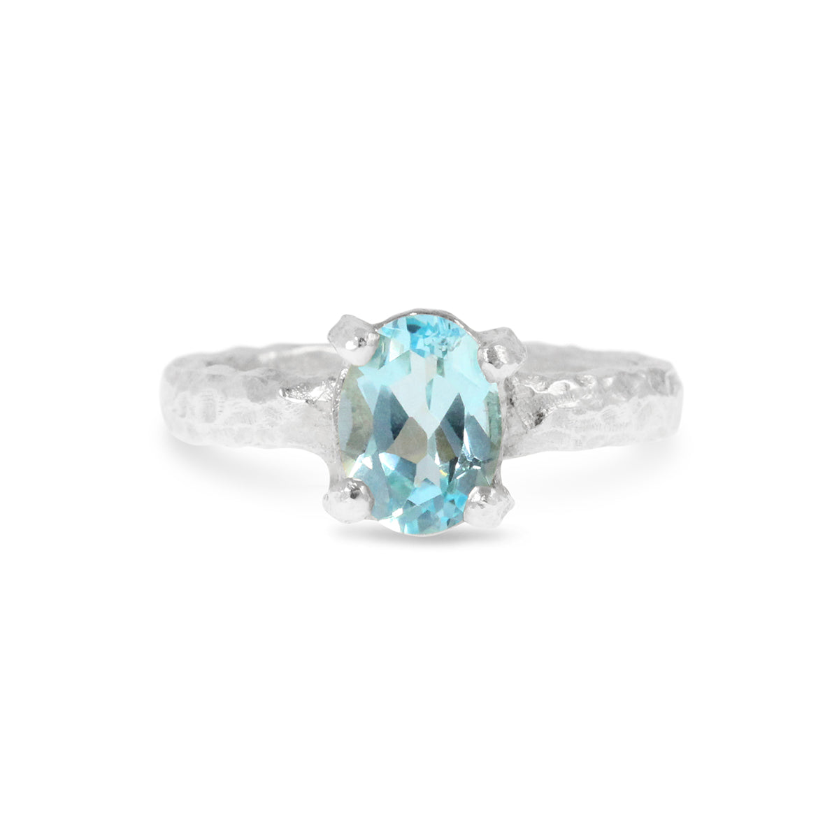 Unique handmade contemporary ring in sterling silver set with blue topaz. - Paul Magen