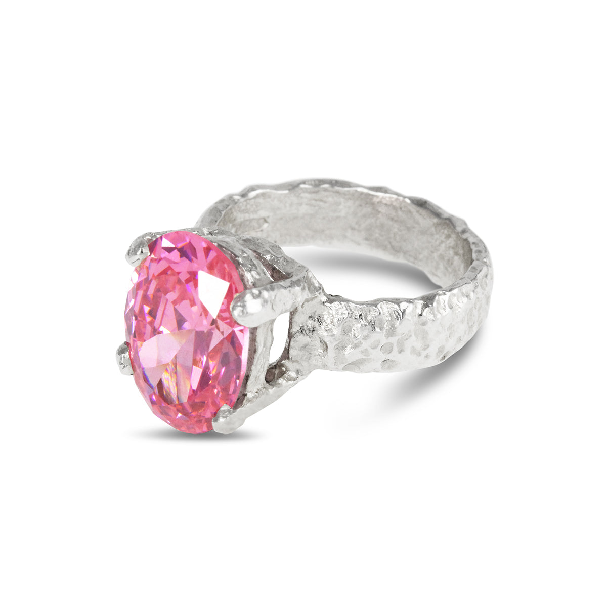 Alveus ring in sterling silver set with oval 14 x 10mm  pink coloured cubic zirconia