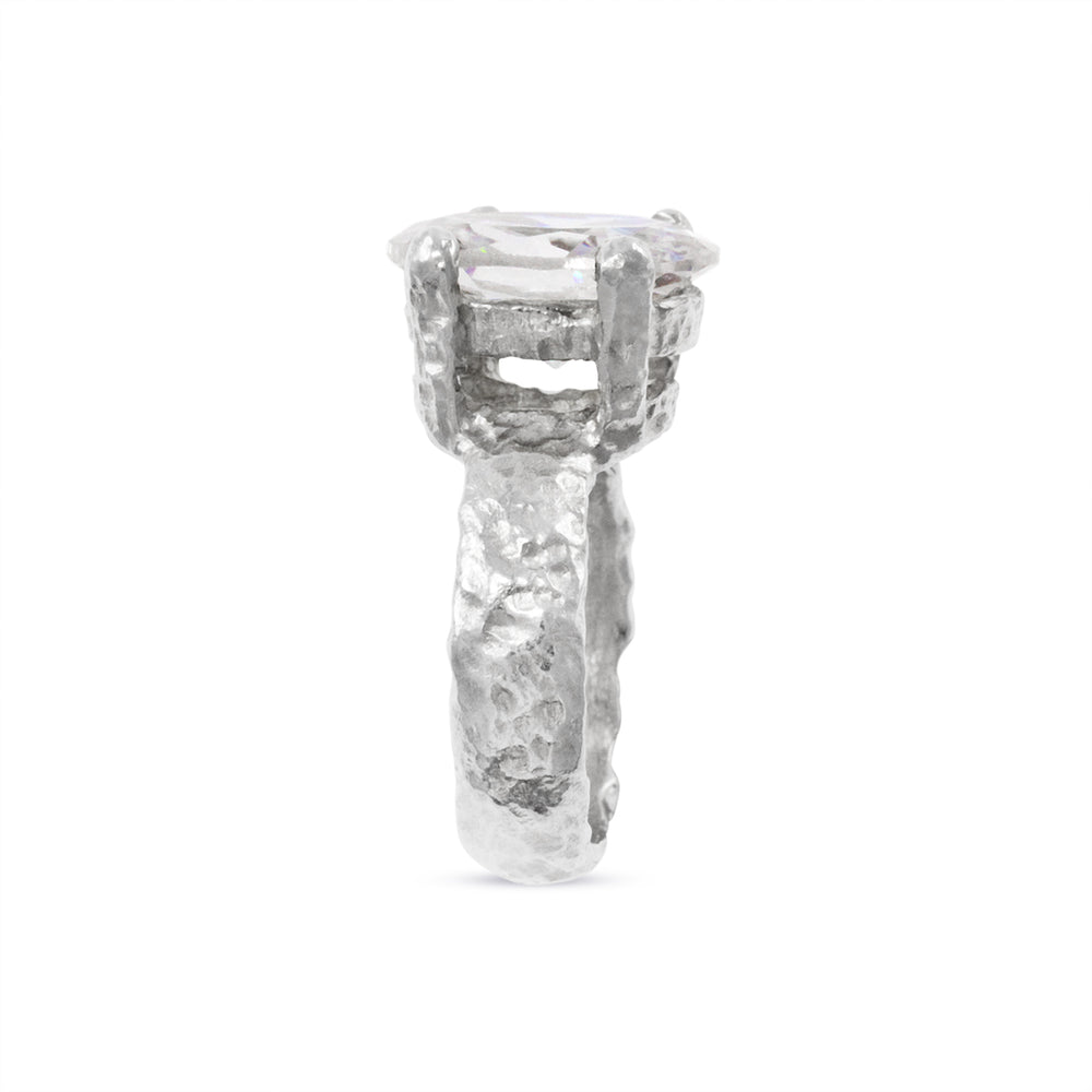 Ring handmade in silver  claw set with white cubic zirconia. - Paul Magen