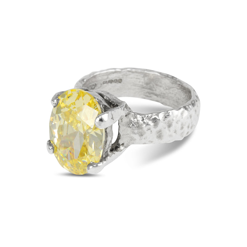 Handcrafted designer ring in sterling silver set with oval yellow coloured cubic zirconia. - Paul Magen