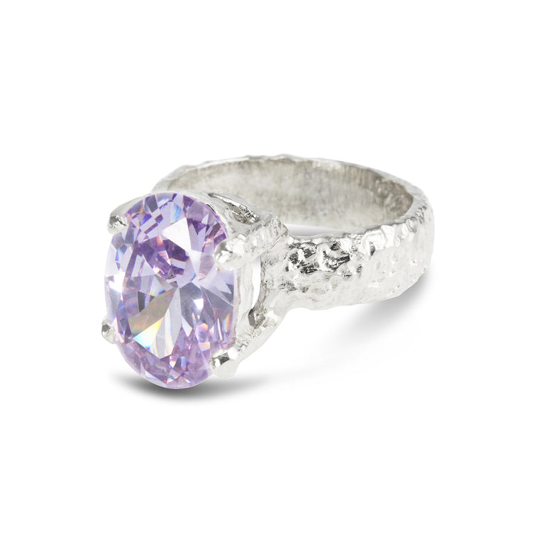 Handmade ring in sterling silver claw set with lilac cubic zirconia.