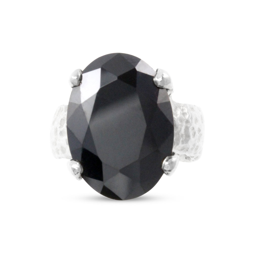 Sterling silver designer ring set with black cubic zirconia.