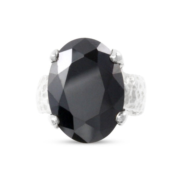 Silver designer ring set with black cubic zirconia. - Paul Magen