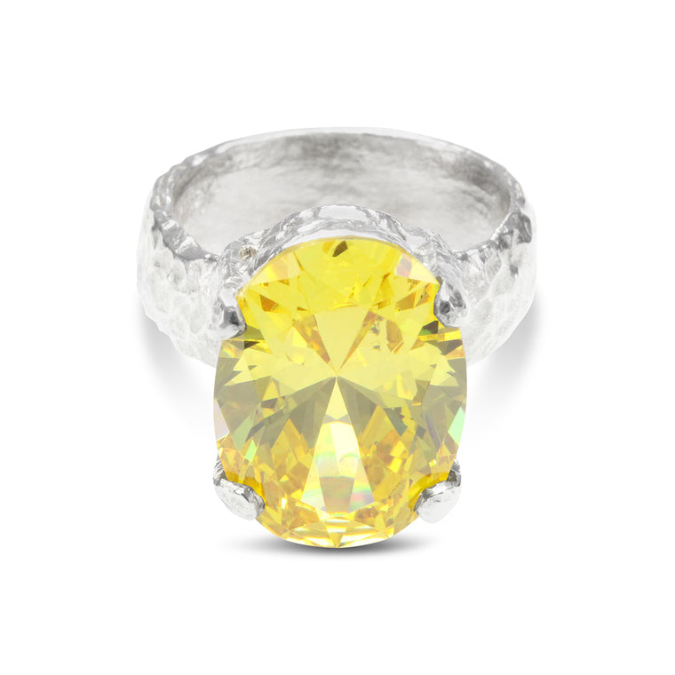 Handmade sterling silver cocktail ring set with yellow cubic zirconia.