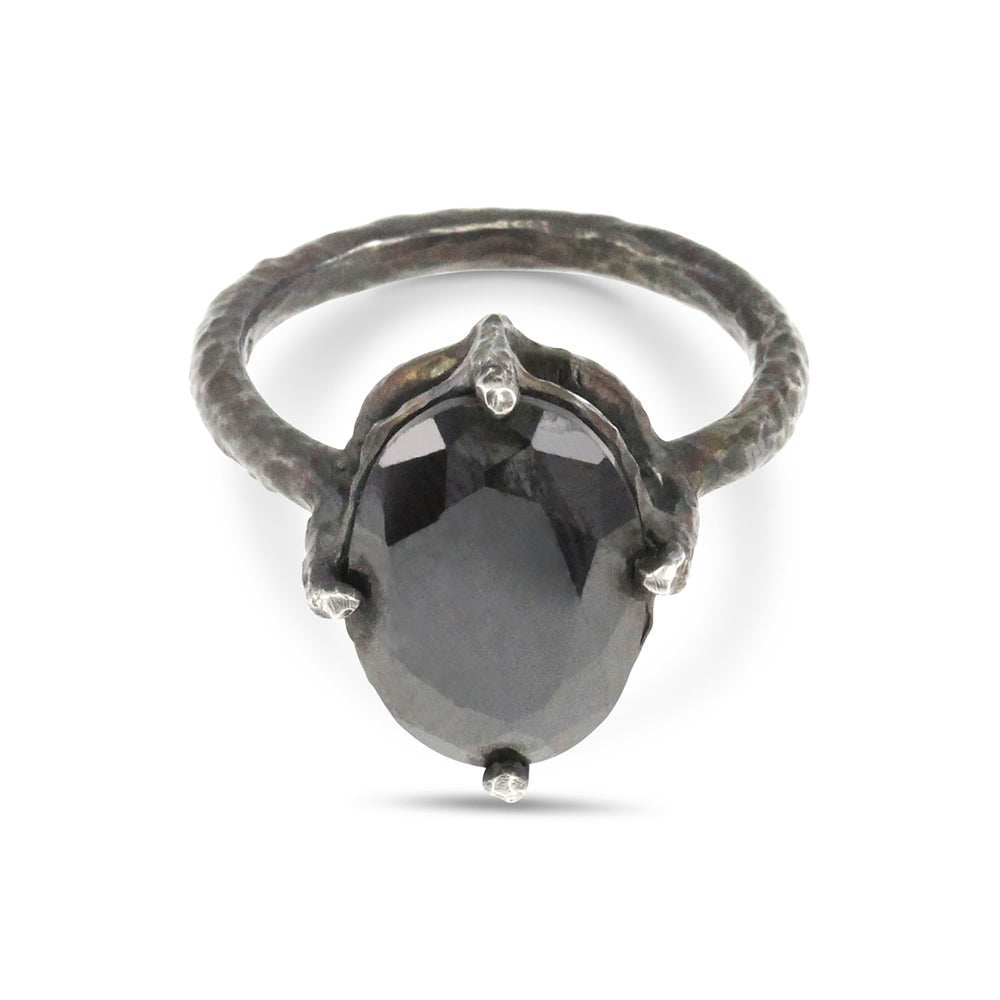 Ring handcrafted in oxidised sterling silver set with black cubic zirconia.