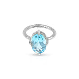 Ring handmade in silver set with blue topaz stone gemstone. - Paul Magen