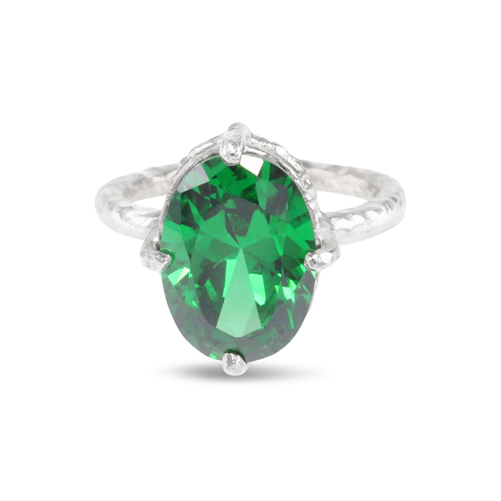 Handmade ring in sterling silver set with green coloured cubic zirconia. - Paul Magen