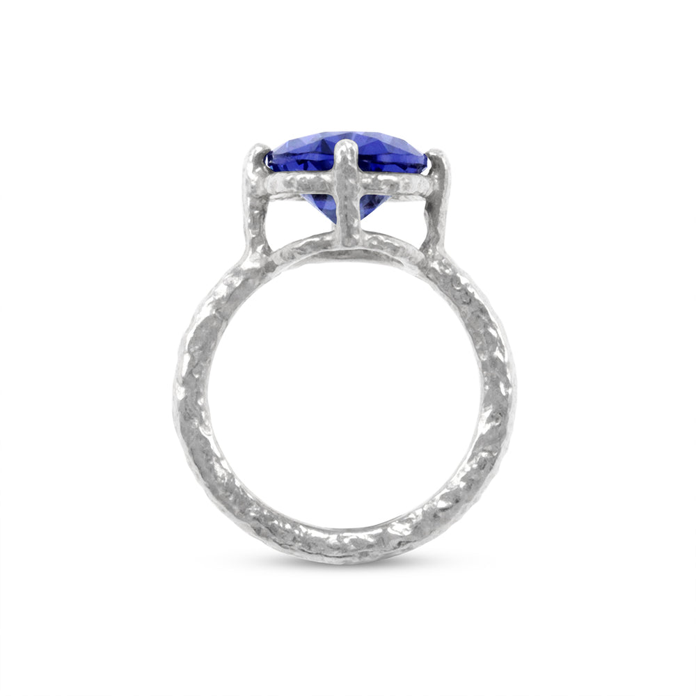 Handmade ring in sterling silver set with blue coloured cubic zirconia. - Paul Magen