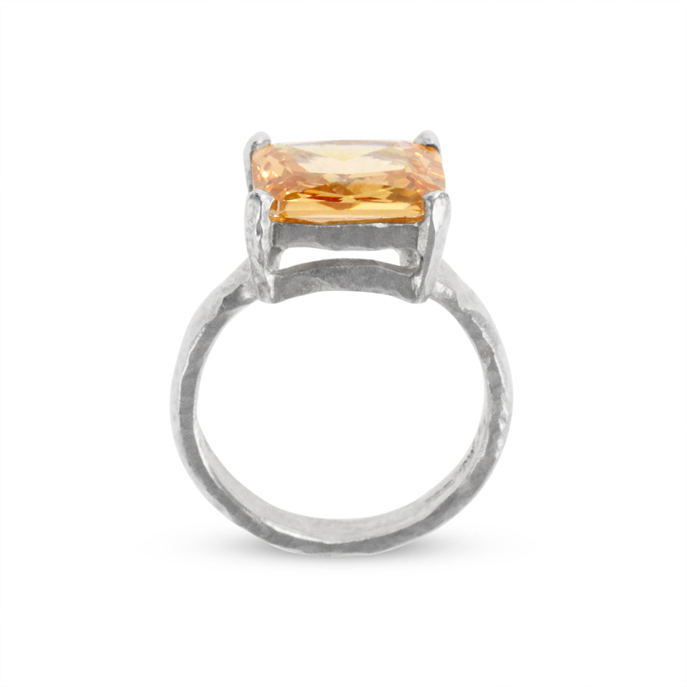 Designer ring in sterling silver set with  rectangle champagne cubic zirconia. - Paul Magen