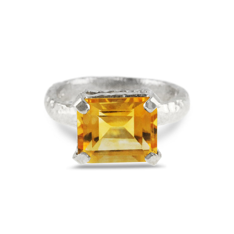 Sterling silver handcrafted ring set with  rectangle citrine gemstone.