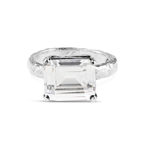Ring handmade in sterling silver set with rectangle white cubic zirconia.