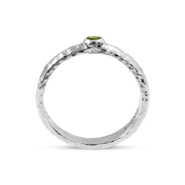 Peridot ring in silver handmade with an organic finish. - Paul Magen