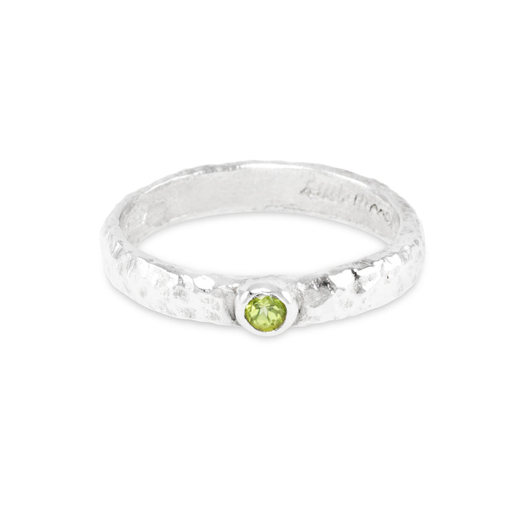 Peridot ring in sterling silver handmade with an organic textural finish.