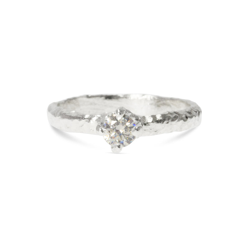 Handmade ring in silver set with a white cubic zirconia. - Paul Magen