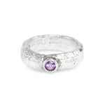 Ring made in silver ring set with amethyst gemstone.