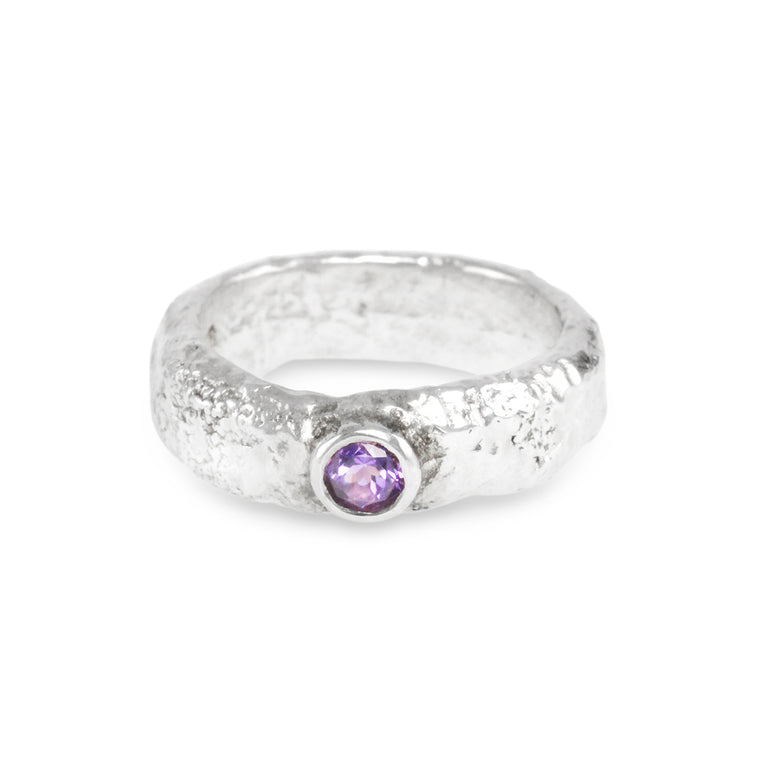Ring made in sterling silver ring set with amethyst gemstone.