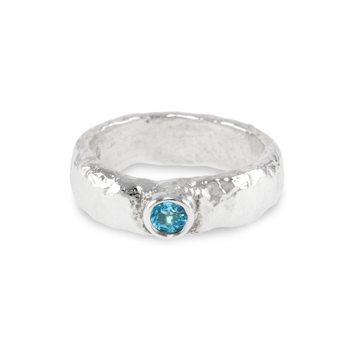 Handmade ring in sterling silver set with blue topaz gemstone. - Paul Magen