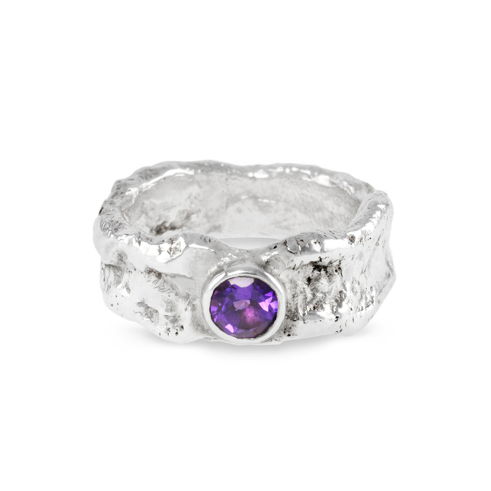 Amethyst ring handmade in sterling silver with a rugged organic melted finish. - Paul Magen