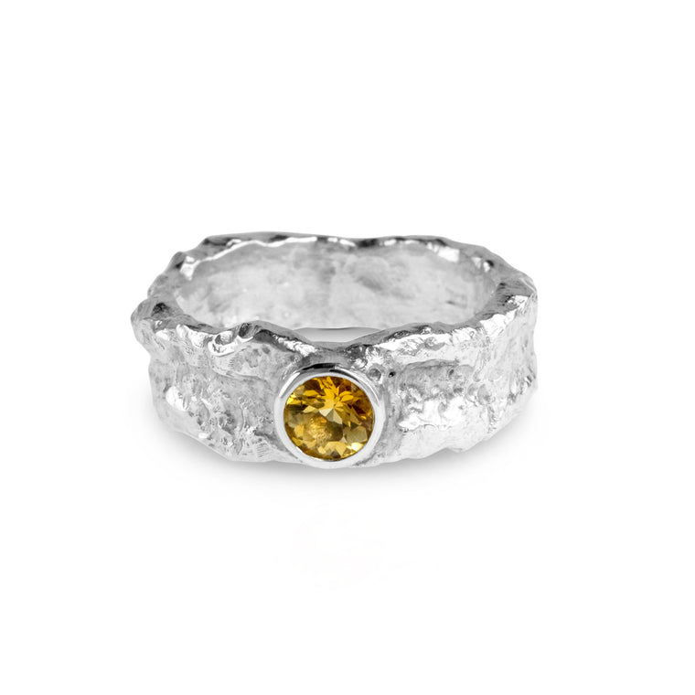 Ring handmade in sterling silver set with citrine gemstone.